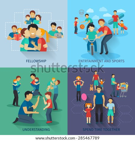 Fatherhood design concept set with fellowship sports and entertainment flat icons isolated vector illustration - stock vector