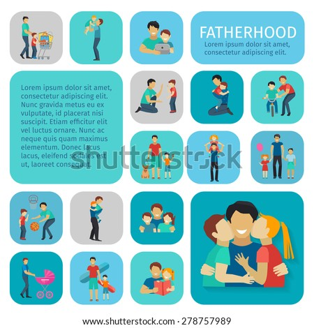 Fatherhood sport and leisure time flat decorative icons set isolated vector illustration - stock vector