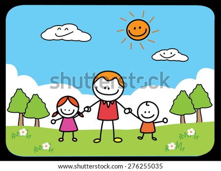 Fathers and kids - stock vector