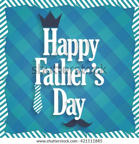 Fathers Day blue poster. Cloth background. Vector illustration - stock vector