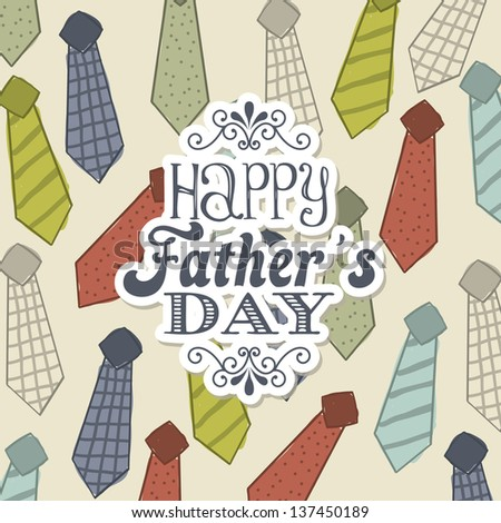 fathers day card over beige background. vector illustration - stock vector
