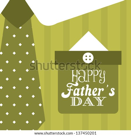 fathers day card over green background. vector illustration - stock vector