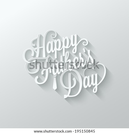 fathers day cut paper lettering background - stock vector