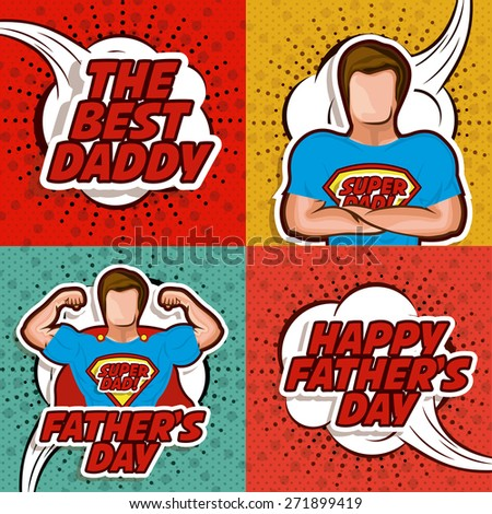 Fathers day design over colored background, vector illustration - stock vector
