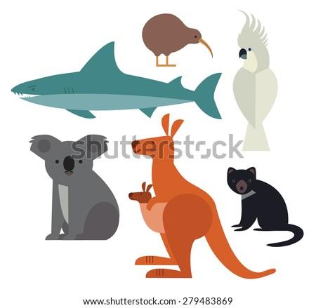 Fauna of Australia and New Zealand. Icons set of vector animals isolated on white background. Vector illustration of animal set including cockatoo, Tasmanian devil, kangaroo, shark, kiwi  and koala. - stock vector