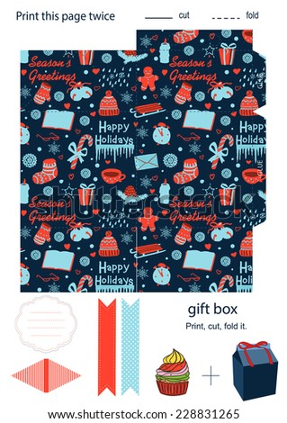 Favor, gift, product box die cut.  Christmas festive pattern. Empty label. Designer template. - stock vector