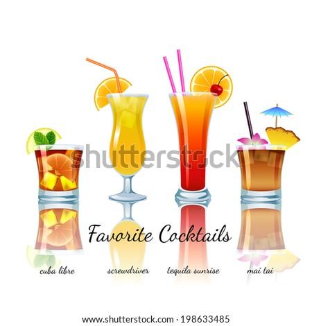 Favorite cocktails set isolated. Cuba Libre, Screwdriver, Tequila Sunrise, Mai Tai - stock vector