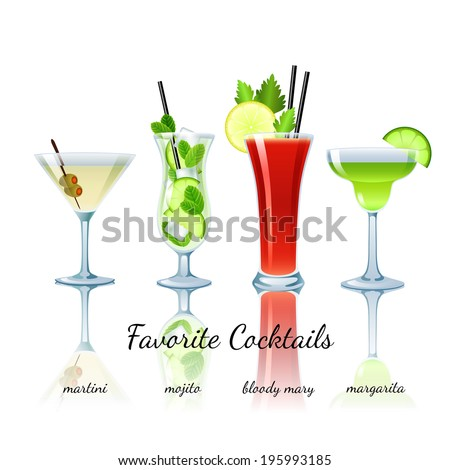 Favorite cocktails set isolated. Martini, Mojito, Bloody Mary, Margarita