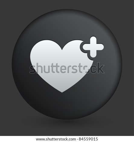 Favorite Icon on Round Black Button Collection Original Illustration - stock vector