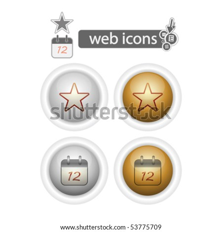 favorites and calendar, web icons, isolated on white , vector illustration - stock vector