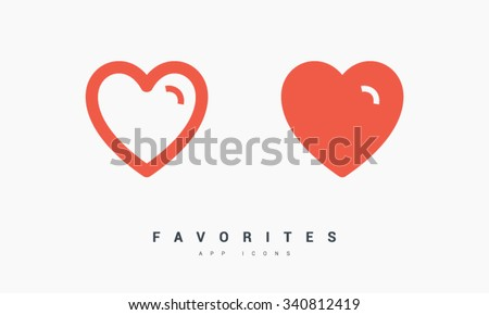 Favorites, heart set of isolated minimal flat linear icons. Line vector icons for websites and mobile minimalistic flat design. Modern trend concept design style illustration symbol - stock vector