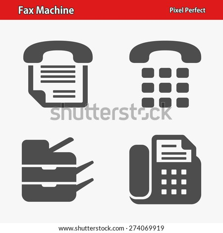 Fax Machine Icons. Professional, pixel perfect icons optimized for both large and small resolutions. EPS 8 format. - stock vector