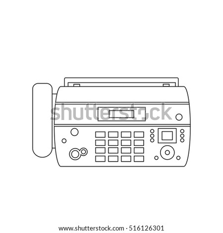 Fax machine office phone equipment telephone, connection office phone, digital fax receiver line icon. Office center phone connection device fax vector outline drawing.