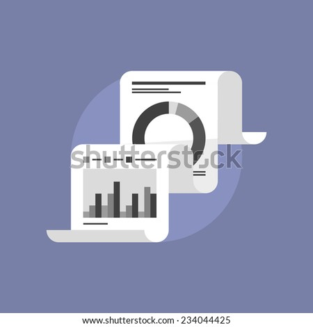 Fax paper with market data statistics, financial report print document, audit company information. Flat icon modern design style vector illustration concept. - stock vector