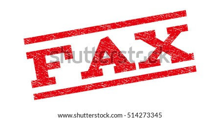 Fax watermark stamp. Text tag between parallel lines with grunge design style. Rubber seal stamp with scratched texture. Vector red color ink imprint on a white background.