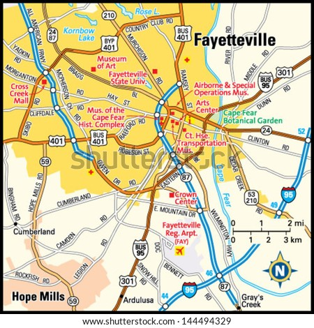 Fayetteville, North Carolina area map