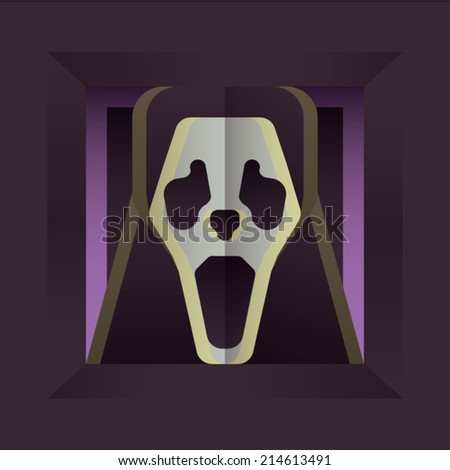 Fearful Halloween Character: Screaming Skull - stock vector