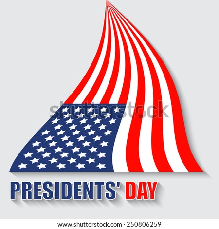 Feast day of the president, the United States flag in the vector - stock vector