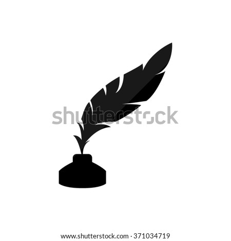feather and ink bottle  - black vector icon - stock vector