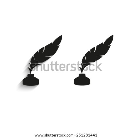 feather and ink bottle - black vector icons - stock vector