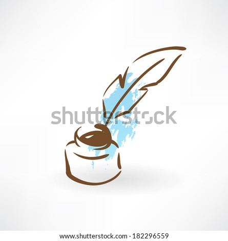 feather and inkwell grunge icon - stock vector