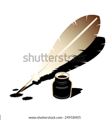 Feather and inkwell vector - stock vector