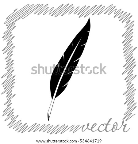 Feather  black  vector icon