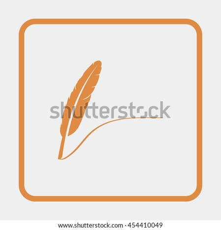 Feather icon. - stock vector