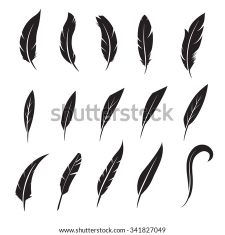 Feather icon. Feather writing tool icon. Concept flat style design illustration icon - stock vector