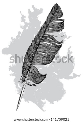 Feather of bird and spray paint - vector background