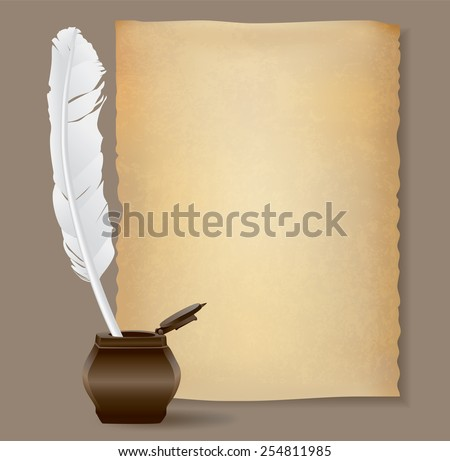 feather pen and old papyrus  - stock vector