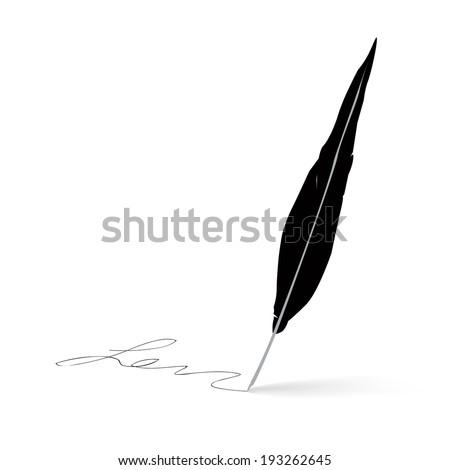 Feather pen icon signature - stock vector