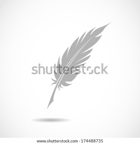 Feather pen icon vector - stock vector
