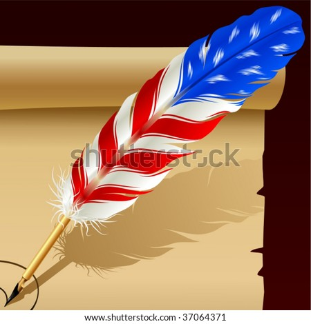 Feather pen in the colors of American flag - stock vector