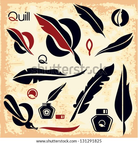 Feather. Quill. - stock vector
