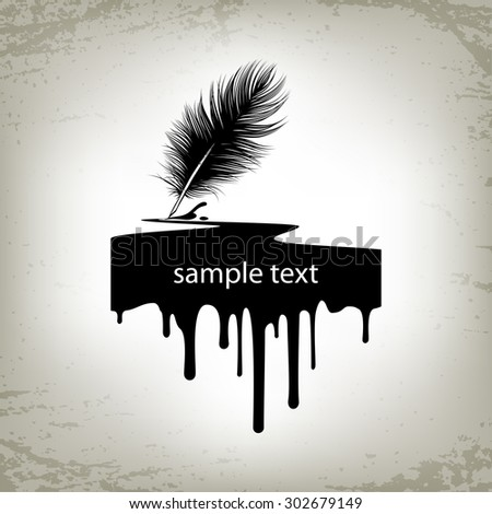 Feather, quill silhouette, with black ink drip. Calligraphy vector illustration