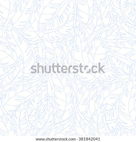 Feather seamless pattern.  Seamless pattern can be used for wallpaper, pattern fills, web page background,surface textures. Seamless abstract hand-drawn feathers pattern - stock vector