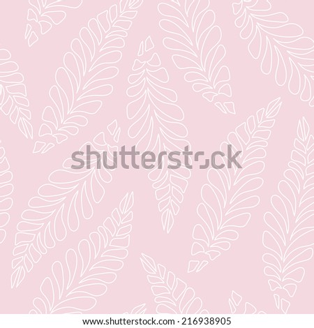 Feather seamless pink pattern - stock vector