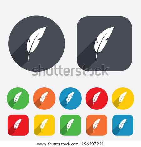 Feather sign icon. Retro pen symbol. Light weight symbol. Circles and rounded squares 12 buttons. Vector - stock vector