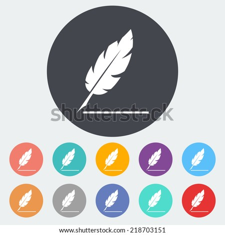 Feather. Single flat icon on the circle. Vector illustration. - stock vector