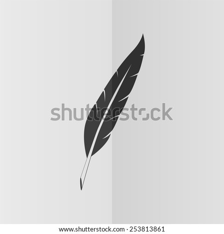 Feather vector icon. Effect of folded paper. Flat design - stock vector
