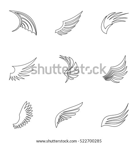 Feather wings icons set. Outline illustration of 9 feather wings vector icons for web