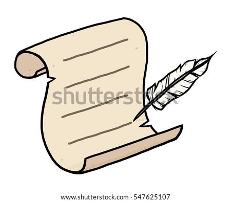 feather writing on old paper cartoon stock vector 547625107 rh shutterstock com cartoon paper files cartoon paperweights
