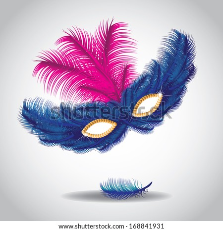 Feathered mask. EPS 10 vector, grouped for easy editing. No open shapes or paths. - stock vector