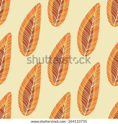 Feathers in red, orange and yellow colors - stock vector