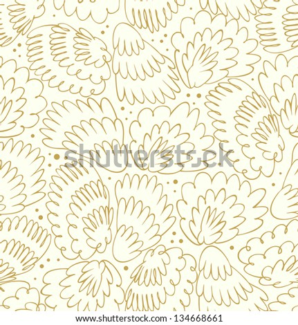 Feathers seamless light pattern. Bright background with plums. Modern texture with fluff. Fantasy wings - stock vector