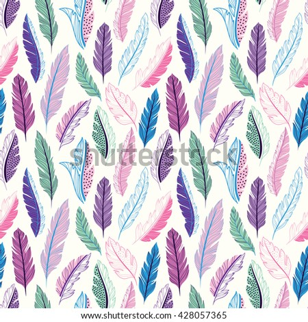Feathers seamless pattern - stock vector