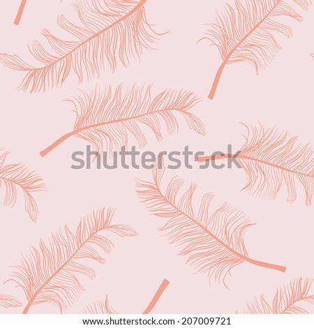 feathers seamless pattern, editable separated layers,   eps 10 vector - stock vector