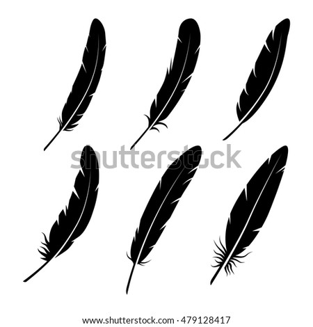 feathers vector black white silhouette collection stock vector