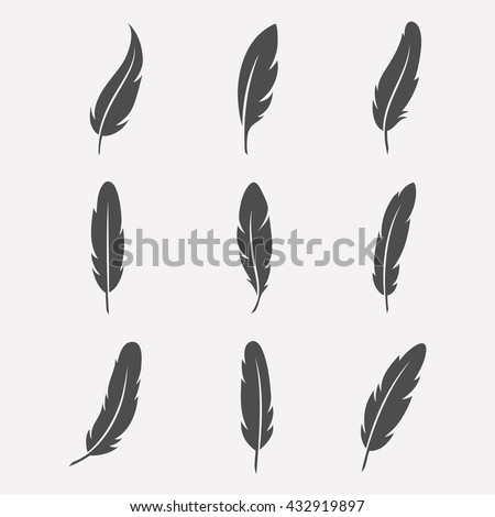 Feathers Vector Set Flat Style Icons Stock Vector ...